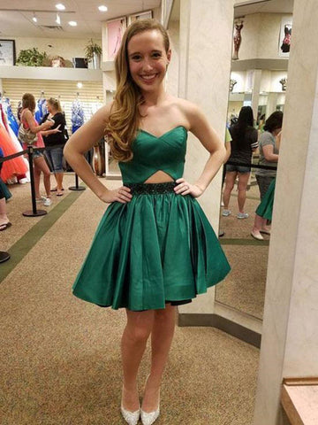 Simple Green Short Prom Dresses, Green Homecoming Dresses, Evening Dresses