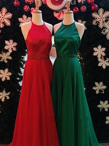 Simple Halter Floor Length Backless Red/Dark Green Prom Dresses, Formal Dresses