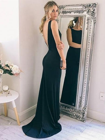 Simple Mermaid Backless Black Prom Dresses with Sweep Train, Mermaid Black Formal Dresses, Black Evening Dresses, Graduation Dresses