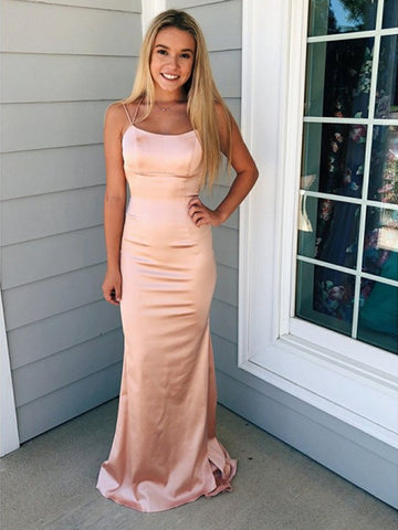 Simple Mermaid Backless Long Pink Prom Dresses, Backless Mermaid Pink Formal Dresses, Mermaid Pink Evening Dresses