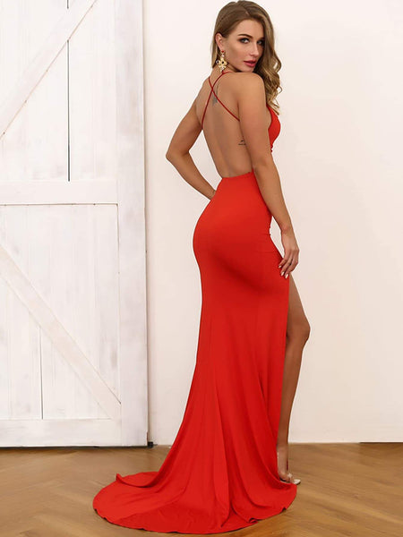 Simple Mermaid Backless Red/Black Long Prom Dresses with High Slit, Mermaid Formal Dresses, Evening Dresses