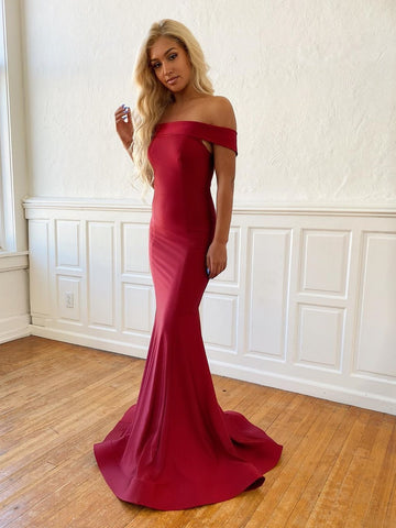 Simple Mermaid Off Shoulder Burgundy Prom Dresses, Off the Shoulder Mermaid Maroon Formal Dresses, Mermaid Burgundy Evening Dresses