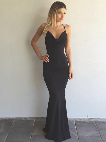 Simple Mermaid Open Back Elegant Long Black Prom Dresses, Backless Black Formal Dresses