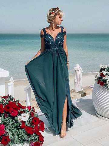Simple Off Shoulder Lace Dark Green Prom Dresses, Off the Shoulder Lace Green Formal Graduation Evening Dresses, Off Shoulder Green Bridesmaid Dresses