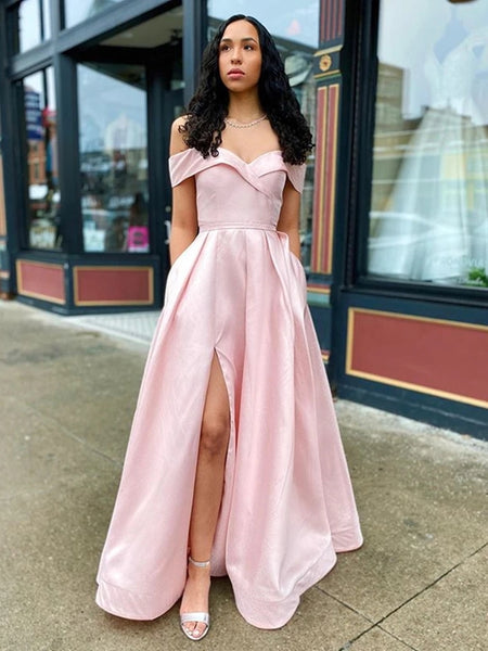 Simple Off Shoulder Pink Long Prom Dresses with Slit, Off Shoulder Pink Formal Dresses, Pink Evening Dresses