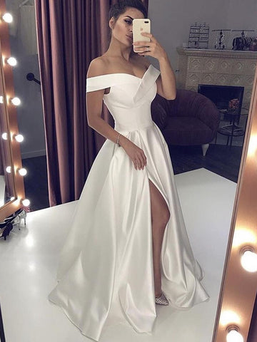 Simple Off Shoulder White Satin Long Prom Dresses with Slit, Off Shoulder White Formal Dresses, White Evening Dresses