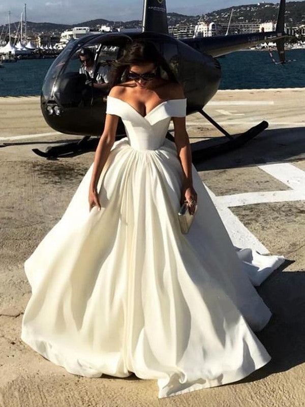 Simple Off Shoulder White Satin Prom Dresses, White Long Formal Dresses, White Evening Dresses