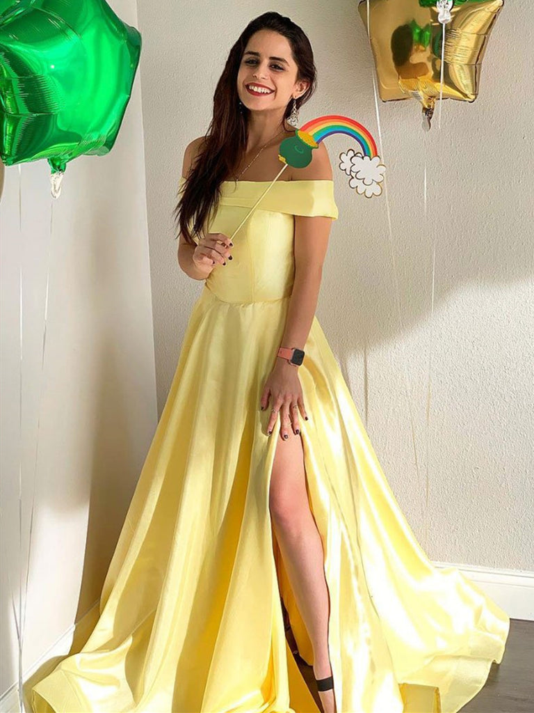 Simple Off Shoulder Yellow Satin Long Prom Dresses with Slit, Off Shoulder Yellow Formal Dresses, Yellow Evening Dresses