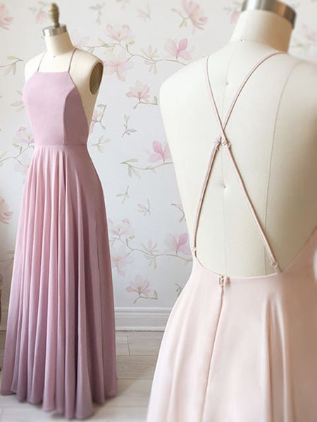 Simple Pink A Line Backless Long Prom Dresses, Pink Backless Formal Dresses, Pink Evening Dresses