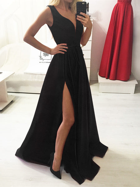 Simple Red/Black V Neck Satin Long Prom Dresses with Side Split, Red/Black Formal Dresses, Evening Dresses