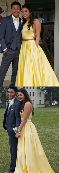 Simple Round Neck Two Pieces Yellow Prom Dresses, Yellow Satin Long Formal Dresses