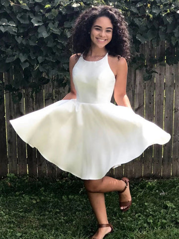 Simple Round Neck White Satin Short Prom Dresses Homecoming Dresses, White Formal Graduation Evening Dresses