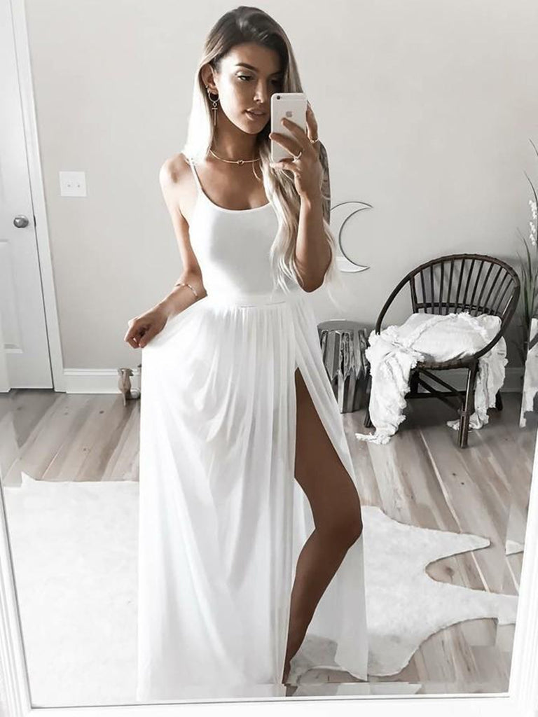 Simple Spaghetti Strap Square Neck White Prom Dresses with Side Split, White Evening Dresses, White Formal Dresses