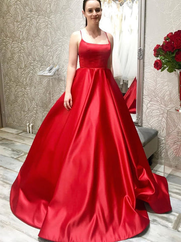 Simple Spaghetti Straps Long Backless Red Prom Dresses 2020, Backless Red Formal Graduation Evening Dresses, Red Party Dresses