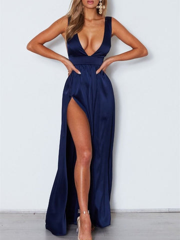 Simple V Neck Backless Navy Blue Long Prom Dresses With Slit, Navy Blue Formal Dresses