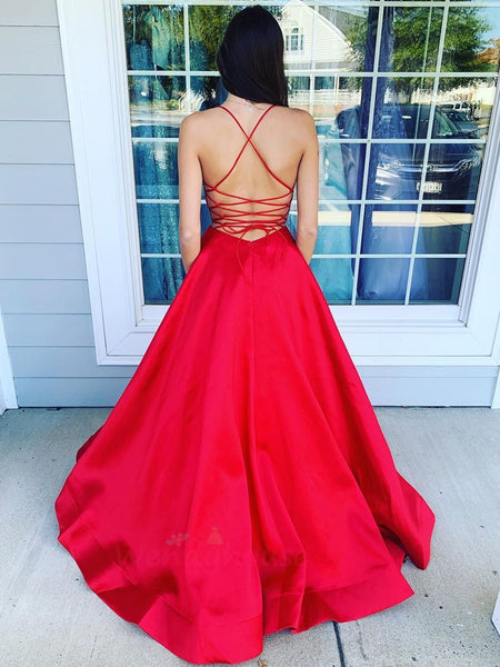 Simple V Neck Backless Red Long Prom Dresses 2020 with Pocket, V Neck Backless Red Formal Graduation Evening Dresses