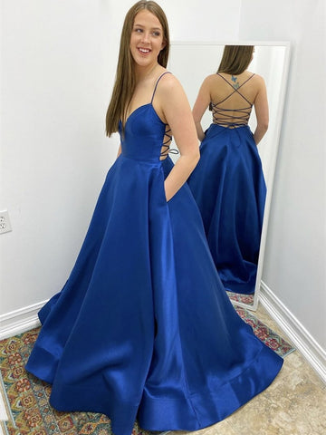 Simple V Neck Backless Royal Blue Prom Dresses with Pocket, Backless Royal Blue Formal Dresses, Royal Blue Evening Dresses