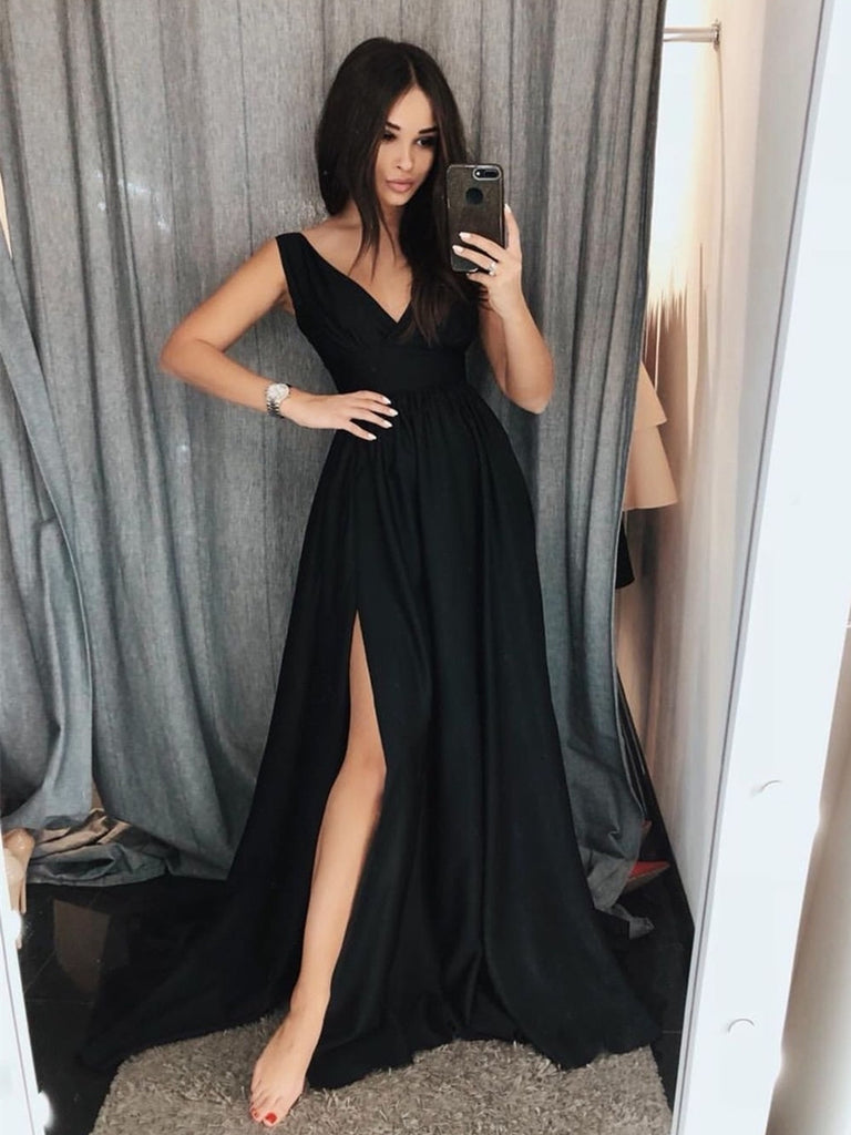 Simple V Neck Black Prom Dresses With Train, Black Formal Dresses, Black Evening Dresses