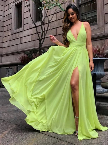 Simple V Neck Bright Yellow Chiffon Long Prom Dresses with Slit, V Neck Bright Yellow Formal Dresses, V Neck Yellow Bridesmaid Dresses