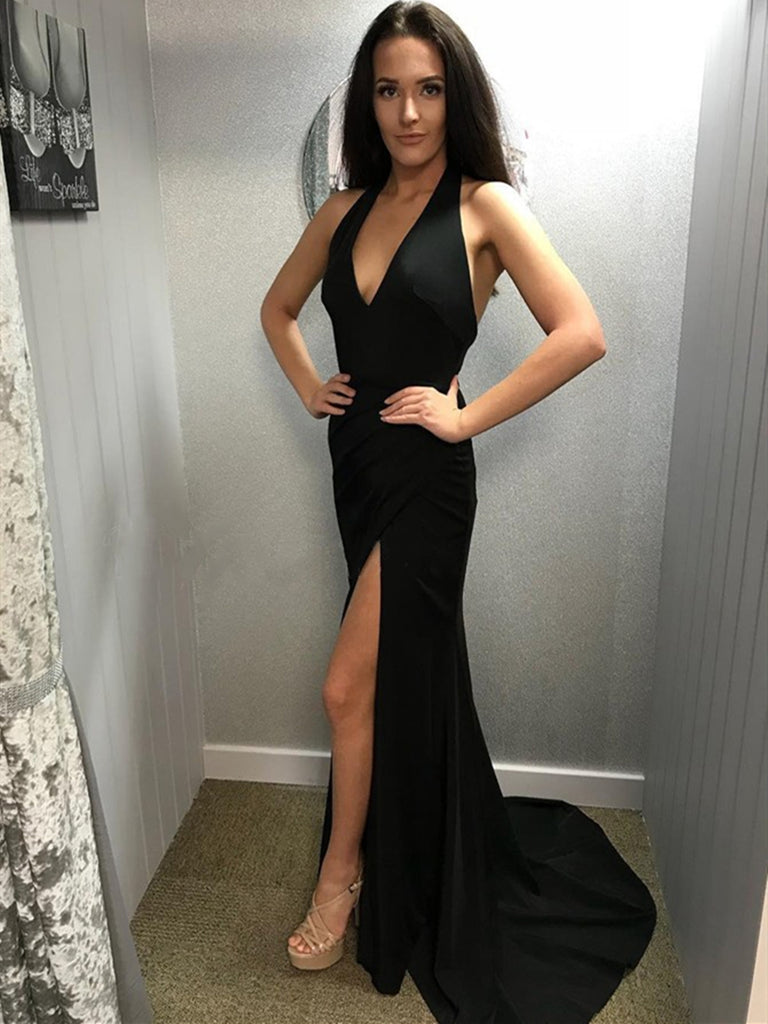 c29db9c10485 Simple V Neck Mermaid Backless Black Long Prom Dresses with Leg Slit, –  Shiny Party