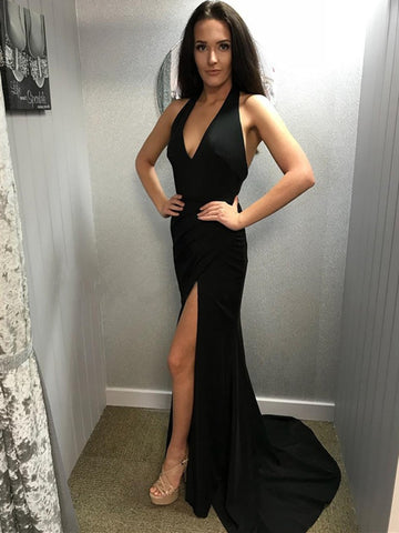 Simple V Neck Mermaid Backless Black Long Prom Dresses with Leg Slit, V Neck Black Formal Dresses, Black Mermaid Graduation Dresses