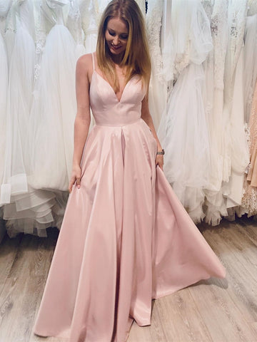 Simple V Neck Pink Satin Long Prom Dresses, V Neck Pink Formal Graduation Evening Dresses, Pink Party Dresses