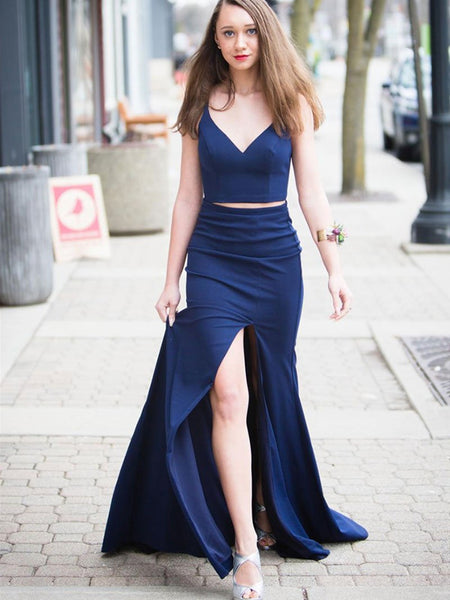 Simple V Neck Two Pieces Blue Prom Dresses with High Slit, Two Pieces Blue Formal Dresses, Evening Dresses
