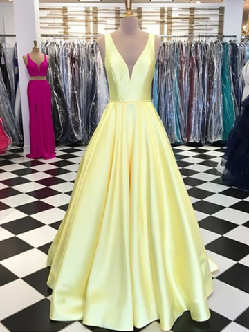 Simple V Neck Yellow Satin Prom Dress, Yellow Formal Dress, V Neck Evening Dress