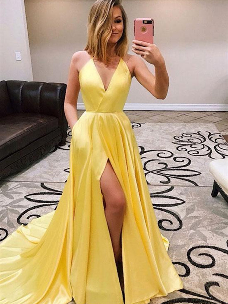 ea3fdcd664d9 Simple Yellow A Line V Neck High Slit Satin Long Prom Dresses with Tra –  Shiny Party