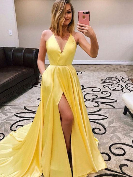 Simple Yellow A Line V Neck High Slit Satin Long Prom Dresses with Train, Yellow Formal Dresses, Yellow Evening Dresses, Graduation Dresses