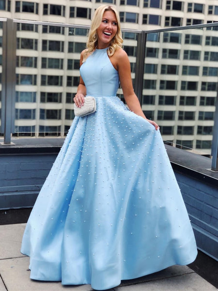 Sky Blue Halter Neck Beaded Long Prom Dresses, Elegant Sky Blue Formal Dresses, Evening Dresses