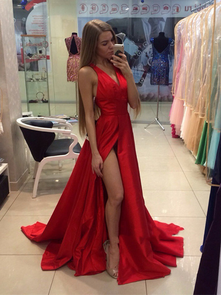78b37bbd703542 Red A Line V Neck Sweep Train Prom Dress with Slit, Red V Neck Formal –  Shiny Party