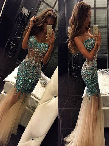 Custom Made Sweetheart Neck Mermaid Long Prom Dresses, Mermaid Floor Length Formal Dresses