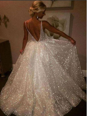 Sparkly A Line V Neck Backless Ivory Long Prom Dresses Wedding Dresses, Backless Ivory Formal Dresses, Evening Dresses