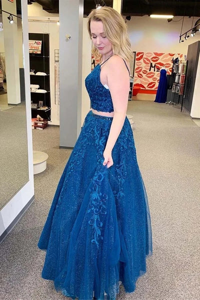 Sparkly A Line V Neck Two Pieces Lace Appliques Blue Prom Dresses, Two Pieces Lace Blue Formal Dresses, Blue Lace Evening Dresses
