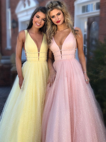 Sparkly A Line V Neck and V Back Yellow/Pink/Light Blue Long Prom Dresses, Yellow/Pink/Light Blue Formal Dresses, Evening Dresses