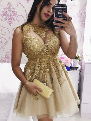 Sparkly Golden Lace Appliques Short Prom Dresses Homecoming Dresses, Golden Lace Formal Graduation Evening Dresses