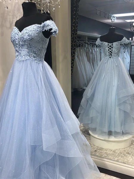 Sparkly Off Shoulder Blue Lace Long Prom Dresses, Off the Shoulder Blue Formal Dresses, Blue Lace Evening Dresses