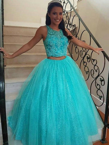 Sparkly Round Neck Two Pieces Lace Beading Long Prom Dresses, Two Pieces Lace Ball Gown, Formal Dresses