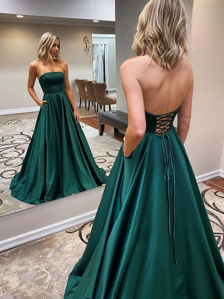 Strapless Backless Emerald Green Long Prom Dresses with Pocket, Backless Emerald Green Formal Graduation Evening Dresses