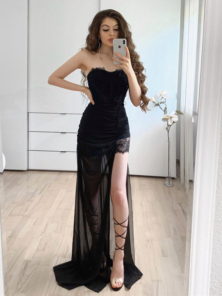 Strapless Long Black Lace Prom Dresses with High Slit, Black Lace Formal Graduation Evening Dresses