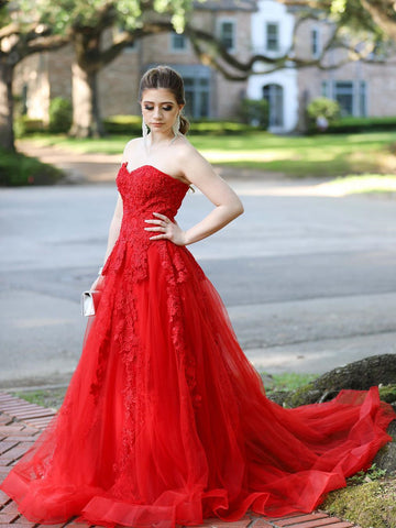 Strapless Red Lace Long Prom Dresses with Train, Red Lace Formal Dresses, Red Evening Dresses