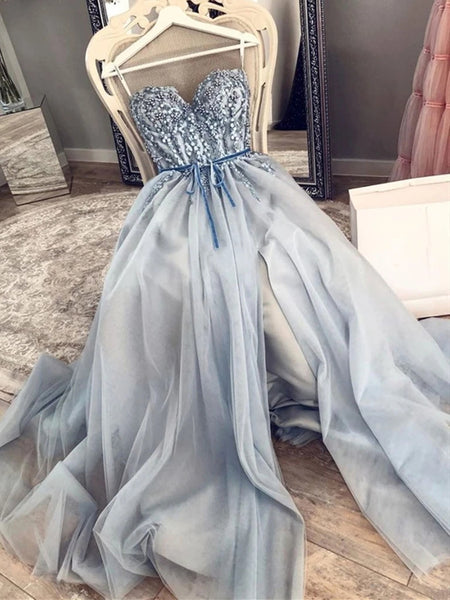 Strapless Sweetheart Neck Beaded Blue Long Prom Dresses with High Slit, Blue Formal Dresses, Evening Dresses