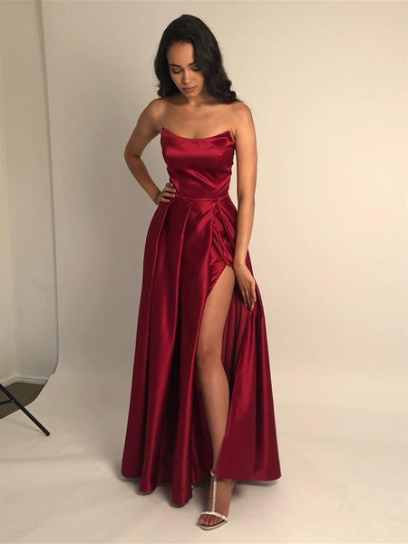 Strapless Burgundy/Blue Satin Long Prom Dresses with Side Slit, Strapless Burgundy/Blue Formal Graduation Evening Dresses