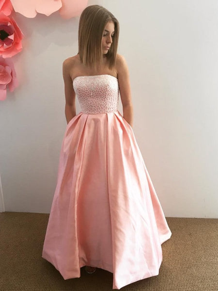 Strapless Lace Top Pink Satin Long Prom Dresses, Strapless Pink Lace Formal Dresses, Pink Lace Evening Dresses