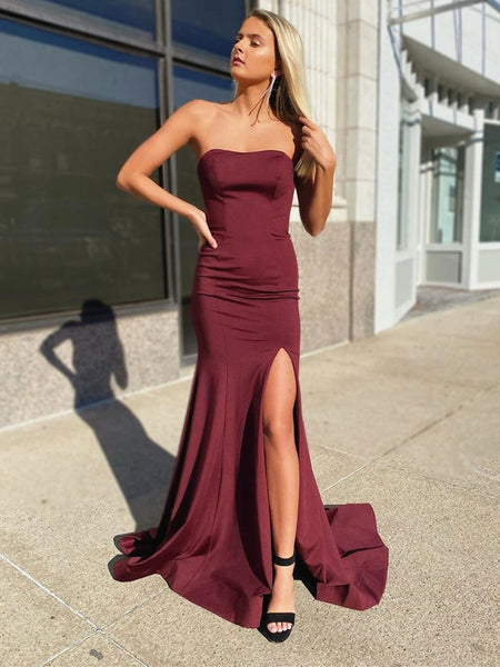 Strapless Mermaid Burgundy Long Prom Dresses with Corset Back, Mermaid Maroon Formal Dresses with Leg Slit, Mermaid Burgundy Evening Dresses