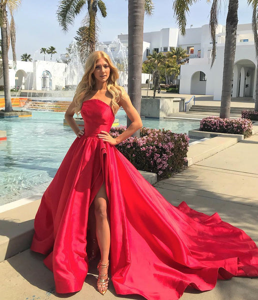 Strapless Side Slit Red Satin Long Prom Dresses with Train, Strapless Red Formal Dresses, Red Evening Dresses