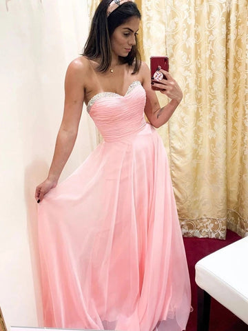 Strapless Sweetheart Neck Pink Chiffon Long Prom Dresses with Beading, Strapless Pink Formal Graduation Evening Dresses