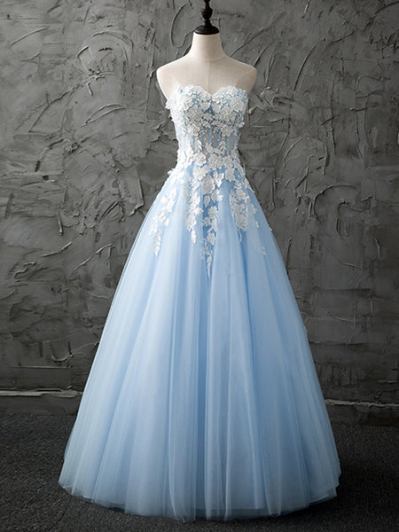 Strapless Sweetheart Neck White Lace Light Blue Prom Dresses, Strapless Open Back Light Blue Lace Formal Graduation Evening Dresses with Appliques