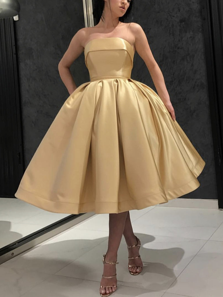 Strapless Tea Length Golden Prom Dresses, Strapless Golden Homecoming Dresses, Golden Cocktail Dresses, Golden Tea Length Formal Dresses